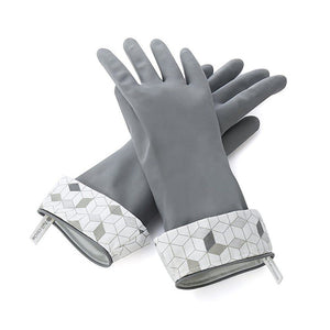 Full Circle Splash Patrol Medium / Large Natural Latex Dishwashing Gloves - Grey