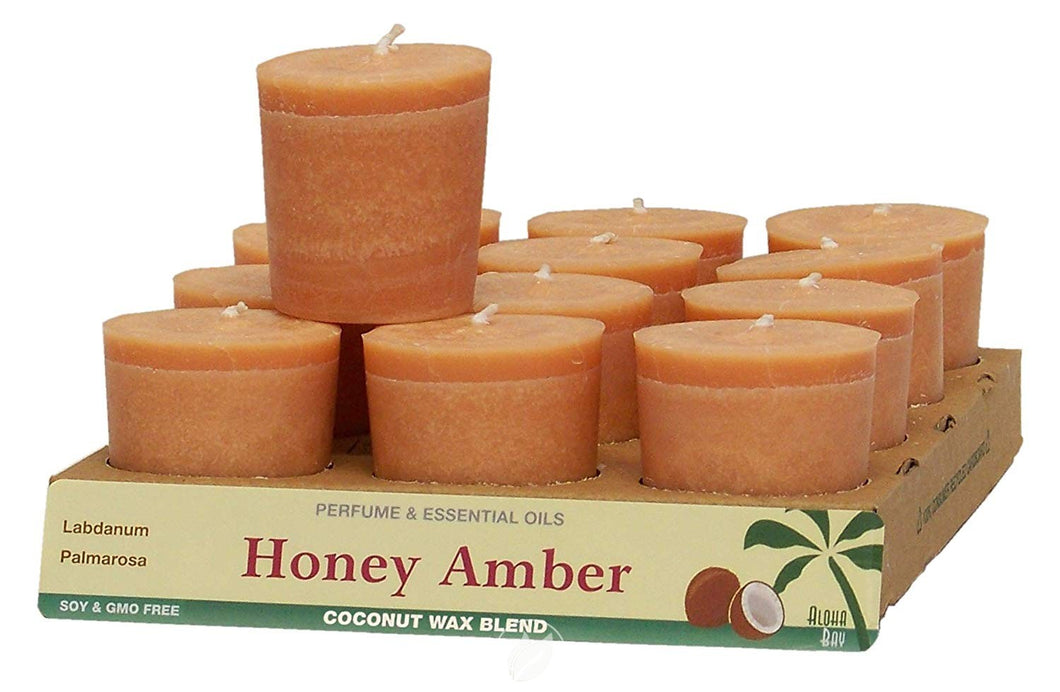 ALOHA BAY Votives Honey Amber 12 PC