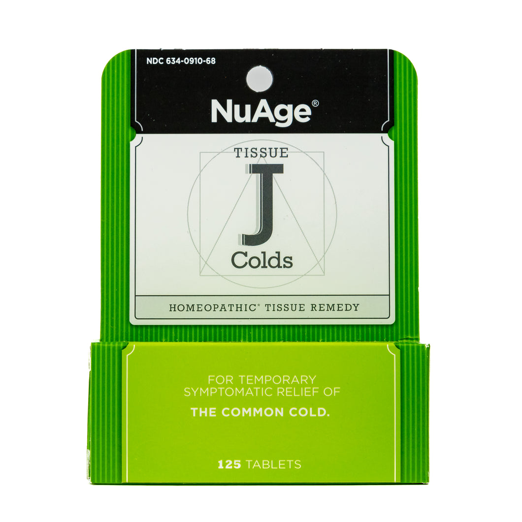 NuAge Homeopathic Tissue J Cold Remedy, Natural Relief of the Common Cold, 125 Count