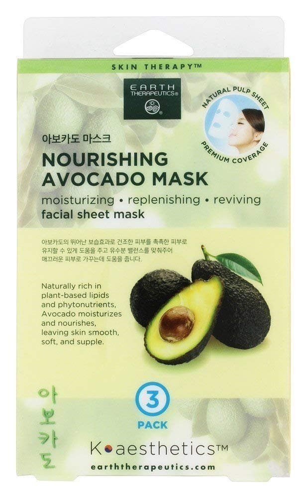 Earth Therapeutics - Nourishing Avocado Facial Sheet Mask - 3 Count