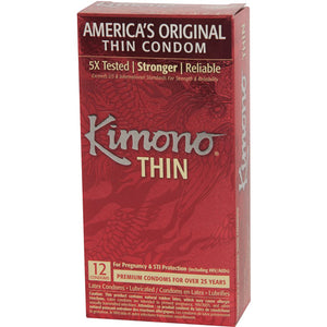 Kimono Thin Lubricated Latex Condoms - 12 ct