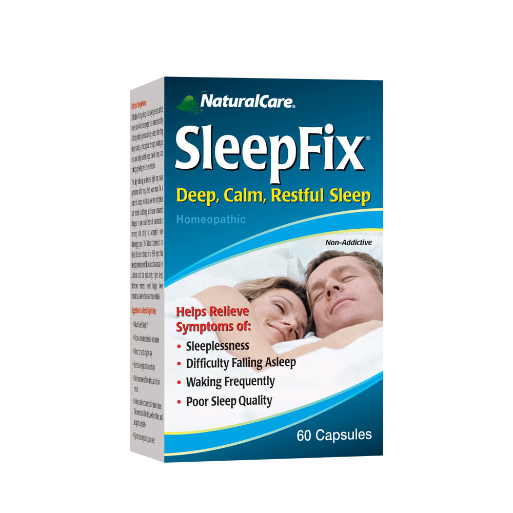 NaturalCare SleepFix Sleep Aid | Non Habit Forming Homeopathic Supplement for Sleepless Nights | Melatonin & Valerian Root | HPUS Compliant | 60 CT.
