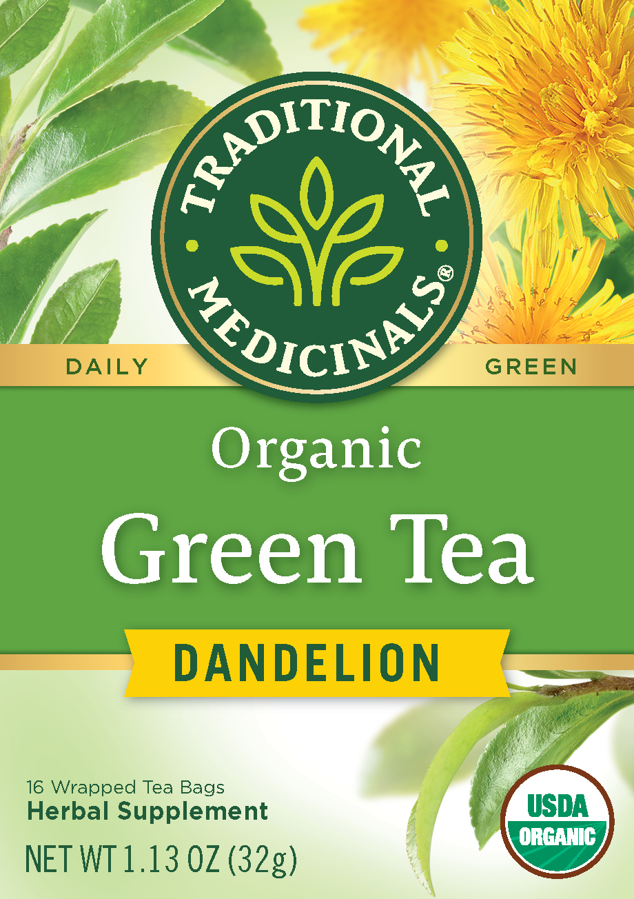 Traditional Medicinals, Organic Green Tea With Dandelion, Tea Bags, 16 Ct
