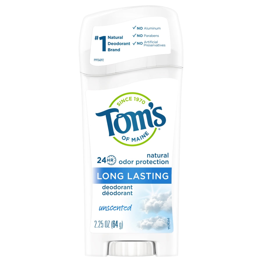 Tom's of Maine Long Lasting Natural Deodorant, Unscented, 2.25oz