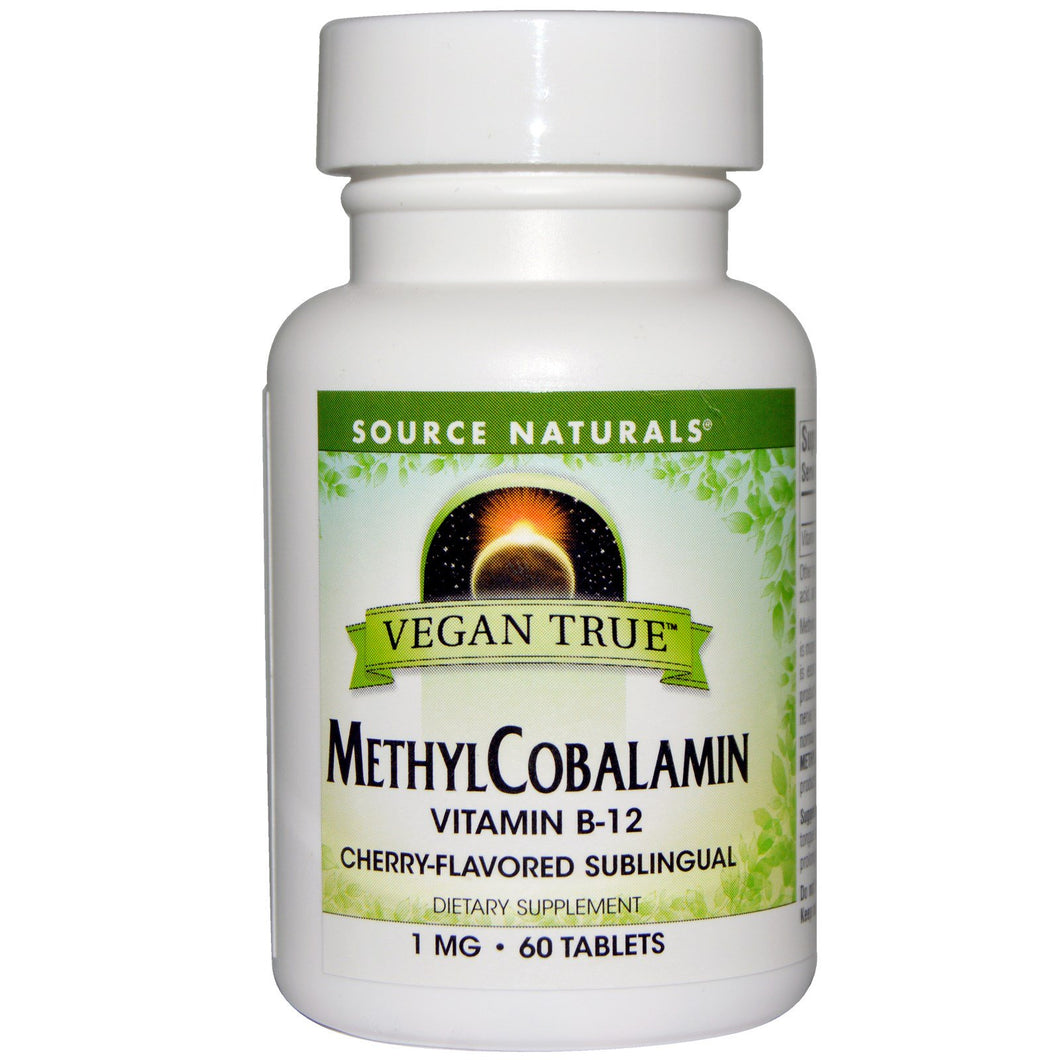 Source Naturals Vegan True, MethylCobalamin, Cherry Flavor, 1 mg, 60 Sublingual Tablets