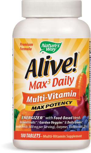 Alive! Max3 Daily Multivitamin Supplement with Iron, Max Potency, 180 Tablets