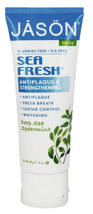 JASON Natural Products - Sea Fresh Antiplaque & Strengthening Fluoride-Free Toothpaste Deep Sea Spearmint - 3 oz.