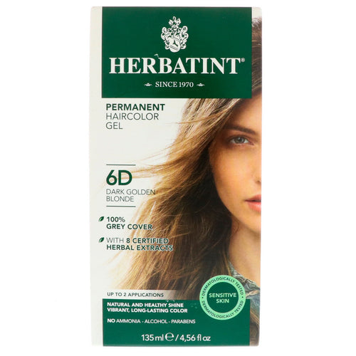 Herbatint  Permanent Haircolor Gel  6D  Dark Golden Blonde  4 56 fl oz  135 ml