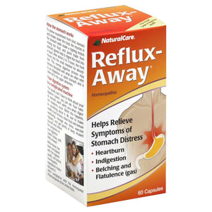 NaturalCare RefluxAway Acid Reflux Aid | Homeopathic Supplement Support For Symptoms Of Stomach, Heartburn, Indigestion & Gas | HPUS Compliant | 60 CT.