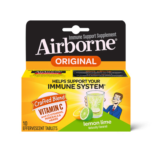 Airborne Vitamin C Effervescent Tablets, Lemon Lime - 10 ct