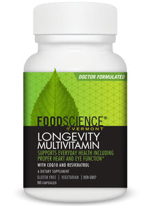 FoodScience of Vermont - Longevity Multivitamin, Resveratrol and COQ10 Health Supplement, 90 Capsules