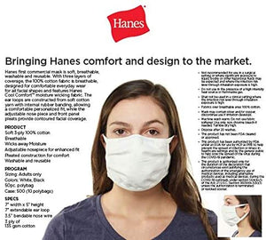 Hanes Face Cover 3-PLY 100% Cotton Face Mask, Reusable Daily (Pack of 5 )