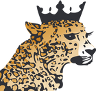 rhinestone leopard wearing a crown boutique logo