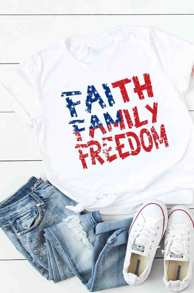 Faith Family Freedom Tee - Red/White/Blue - Rhinestone Leopard