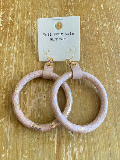 Dee Light Pink Leather and gold hoop - Rhinestone Leopard