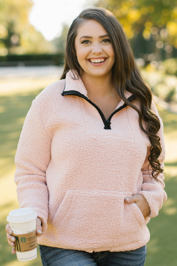 Frankie Sherpa Pullover with Black Trim - Blush