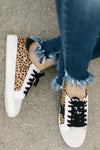 Emma Low Top Cheetah Star Sneakers - White - Rhinestone Leopard
