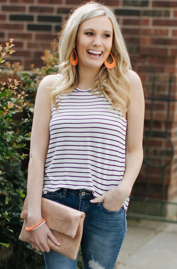 Emily Black and White Striped Top