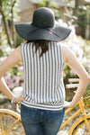Sadie Grey and White Striped Top