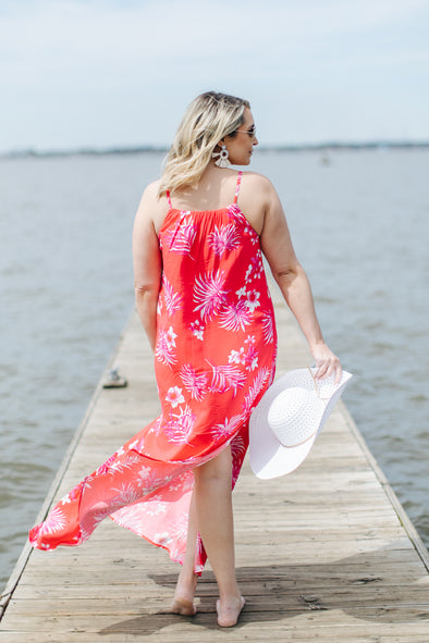 Take me to Paradise Tropical Dress - Ruby Red