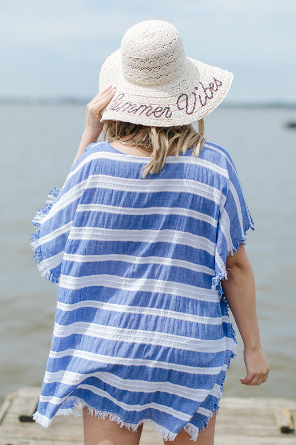 Lake Days Striped Poncho with Frayed Edges - Royal Blue