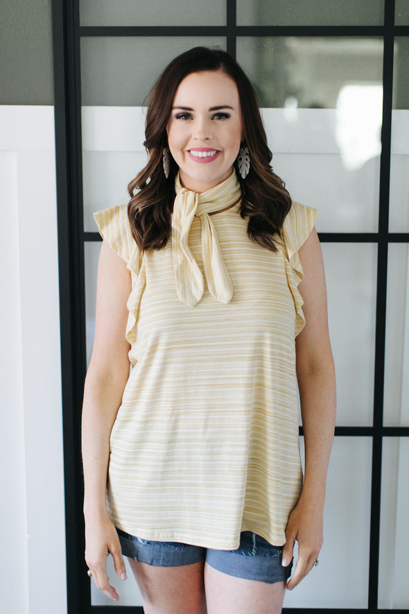 London Striped Top with Ribbon Neck