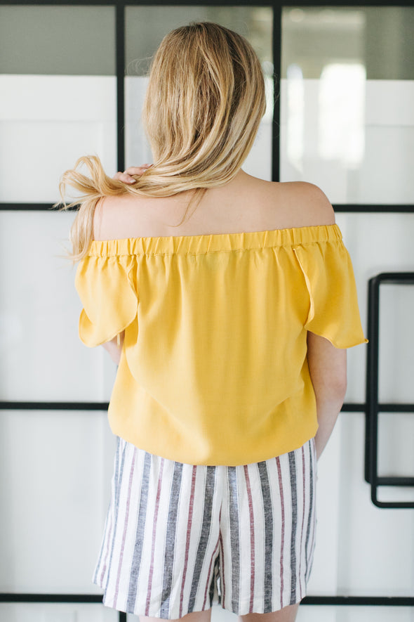 Valeria Mustard Button Up Top