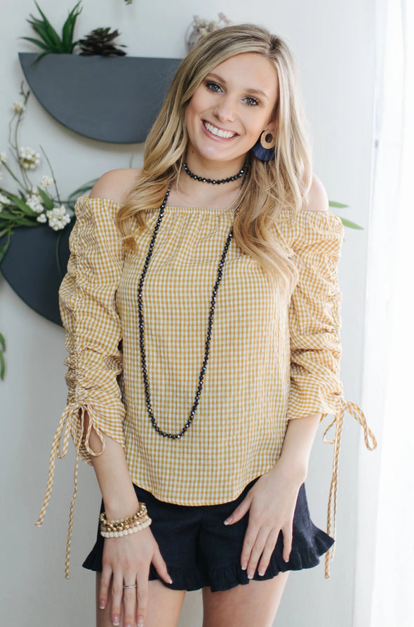 Shelby Mustard Yellow Checkered Top
