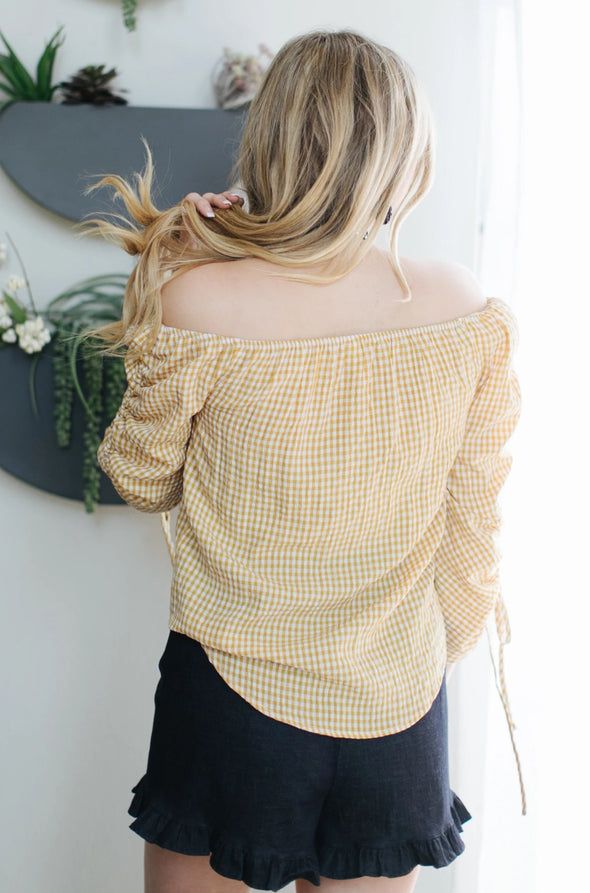 Shelby Checkered Top - Mustard