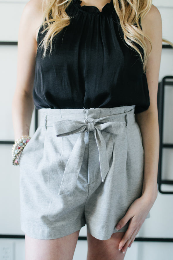 Heather Paper Bag Shorts - Grey