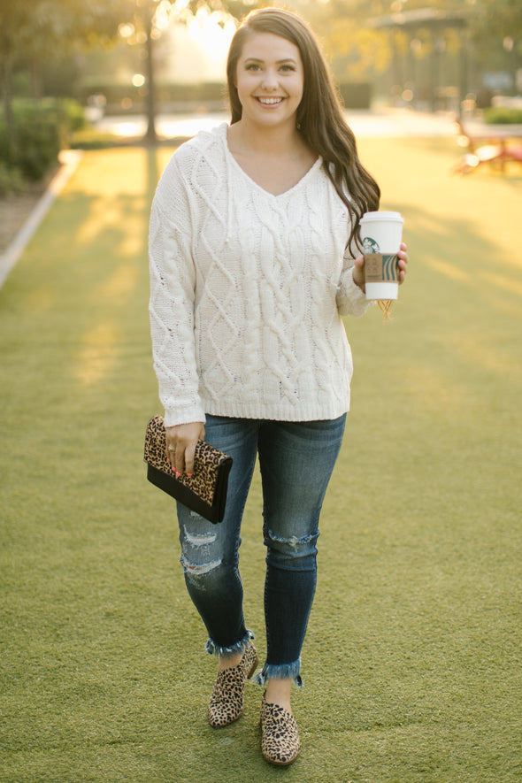 Serenity Cream Knit Hoodie Pullover