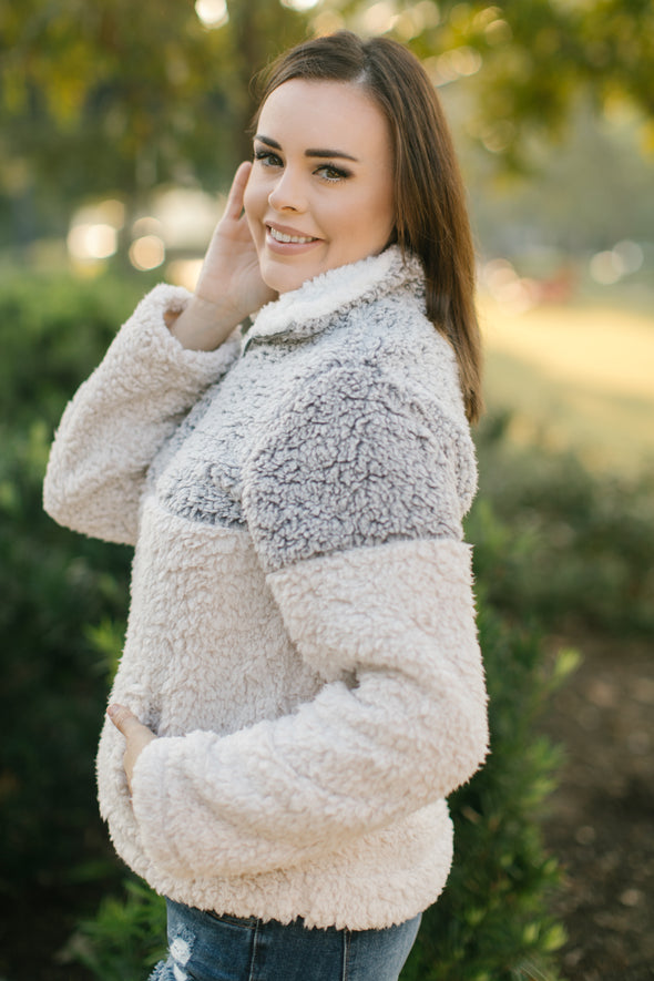 Phoenix Grey and White Sherpa Pullover