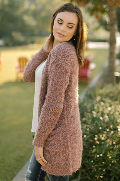 Juniper Mauve Fleece Cardigan