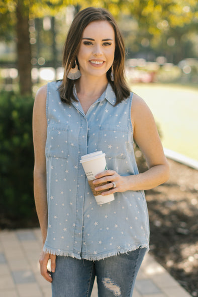 Victoria Blue Button Up Top with White Stars - Rhinestone Leopard