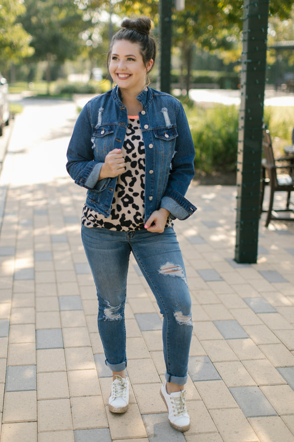 Karen Distressed Denim Jacket - Blue - Rhinestone Leopard