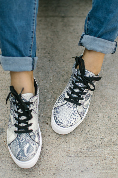 Phoebe Snakeskin Lace Up Sneakers