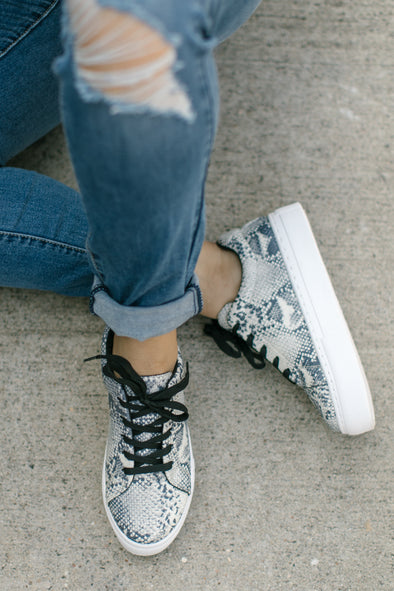 Phoebe Snakeskin Lace Up Sneakers - Grey - Rhinestone Leopard