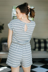 Isabella Striped Romper - Grey