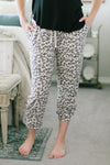 Bethany Leopard French Lounge Pants - Taupe