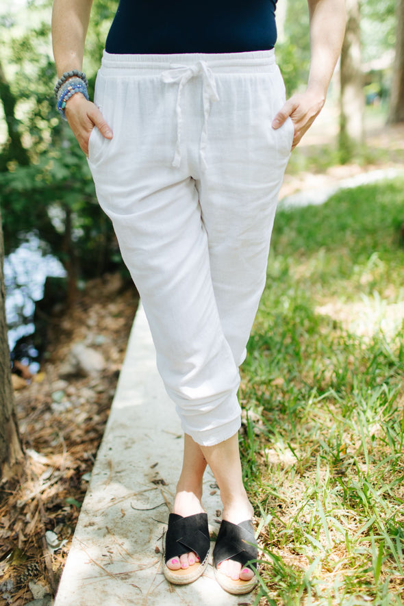 Emery Elastic Pants - White