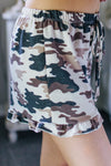 Lillian Camo Ruffled Lounge Shorts
