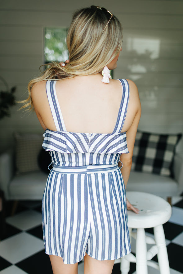Out at Sea Striped Romper - Blue