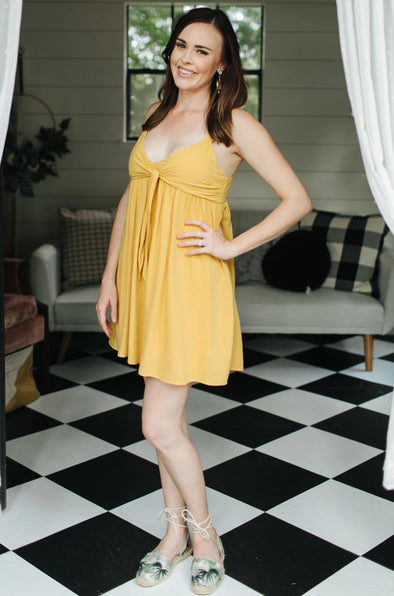 Lacey Mustard Yellow Dress