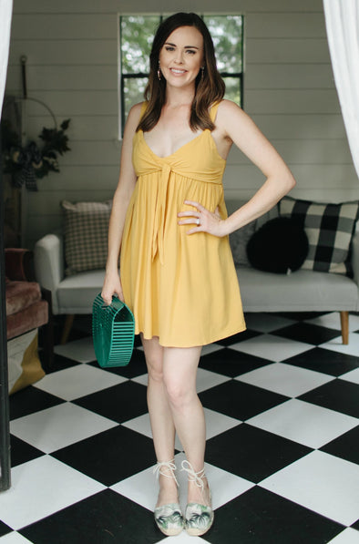 Lacey Strappy Dress - Mustard