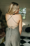 Ellie Striped Open Back Jumpsuit - Charcoal - Rhinestone Leopard