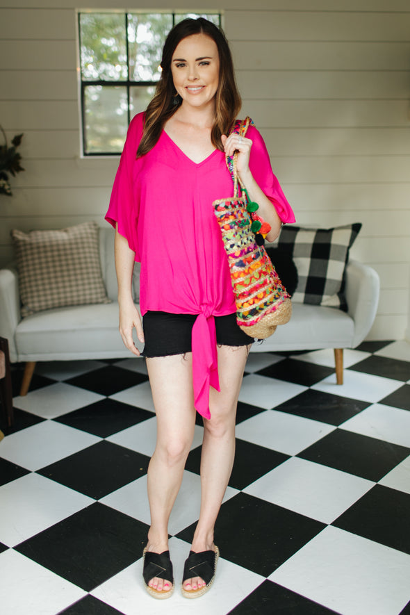 Lydia Hot Pink Flared Blouse