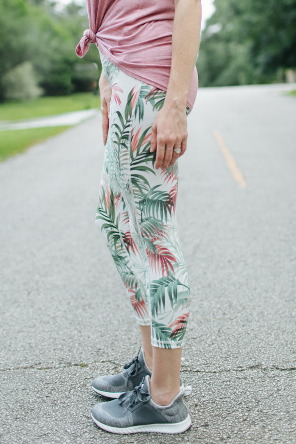 Mckenzie Tropical Leggings - Green - Rhinestone Leopard