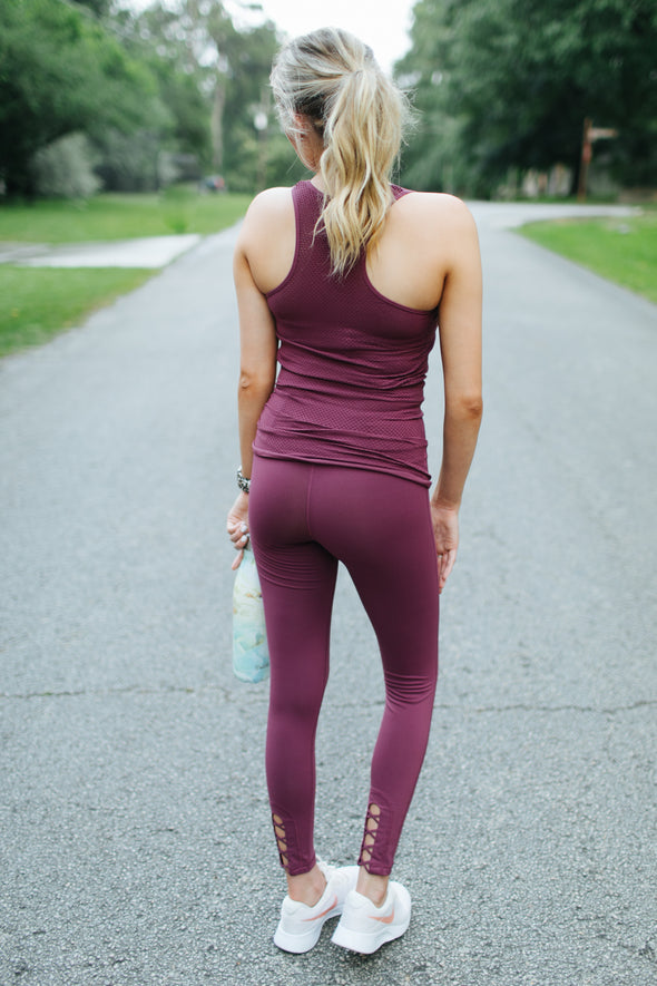 Paisley Fit Leggings - Deep Plum - Rhinestone Leopard