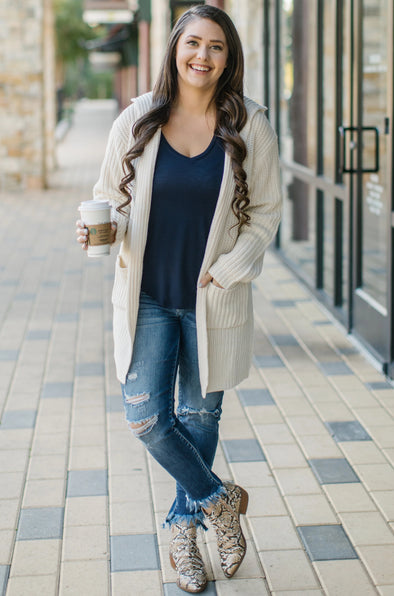 Shay Cream Knit Cardigan with Hood