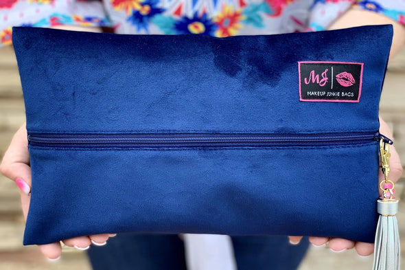 Velvet Makeup Junkie Bag - Cobalt Blue